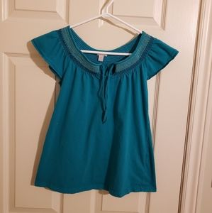 2/$25 Old Navy Flutter Sleeve Tshirt Teal Size Small